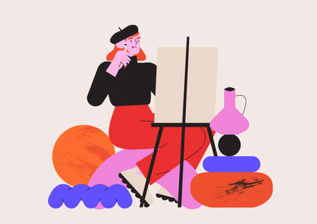 Female artist working with oil paint drawing still life with a brush on a white canvas. Creative idea for drawing or art classes, lessons or online courses. Vector graphic for ui or website project.