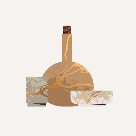 Kintsugi pottery ceramics vector composition. Japanese ceremony tableware illustration. Crackle jar or amphora with gold lines. Antique handmade restoration concept. Broken vintage utensil set.