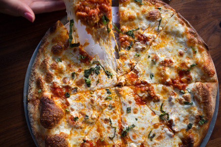 Brick Oven Pizza with sausage Stock Photo