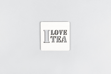 Text I love tea on a gray background