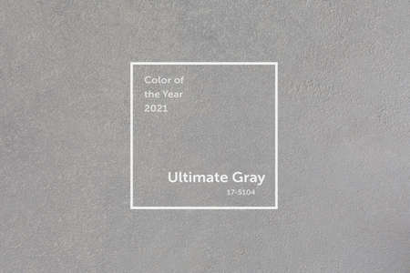 Ultimate Gray concrete wall. Trendy color of the year 2021.