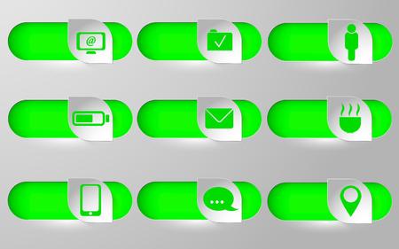 Set. Nine icons, vector illustration. Graphic design.
