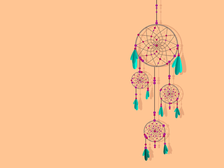 Dreamcatcher. Beautiful vector illustration. Traditional floral ornament. Ilustração