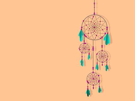 Dreamcatcher. Beautiful vector illustration. Traditional floral ornament. Illustration