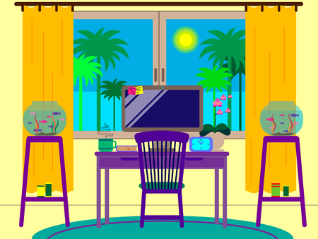 Workplace. Vector illustration. Room, desktop and aquarium.