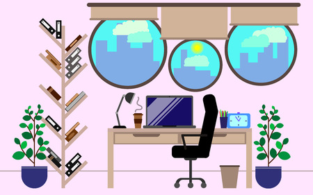 Workplace. Office concept. Vector illustration. Workspace design. Illustration