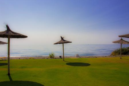 Beach Summer landscape. Mediterranean sea, Costa del Sol, Andalusia, Spain. Stock Photo