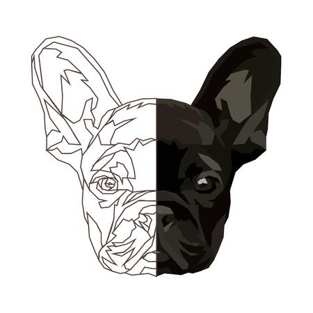 French bulldog Funny domestic animal. Vector illustration. Çizim