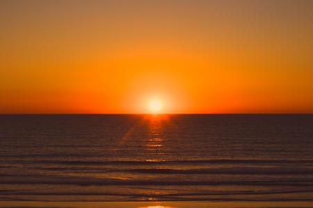 Sunset Cádiz beach in the evening. Cádiz, Spain.