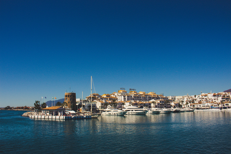 Puerto Banus View of Puerto Banus, Marbella, Malaga, Costa del Sol, Spain. Picture taken on 27 march 2018. Editorial