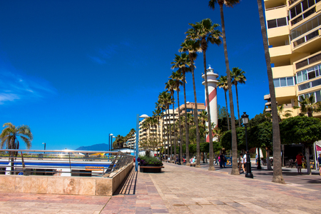 Promenade A sunny day in the street of Marbella. Malaga province, Andalusia, Spain. Picture taken ? ? 3 May 2018.