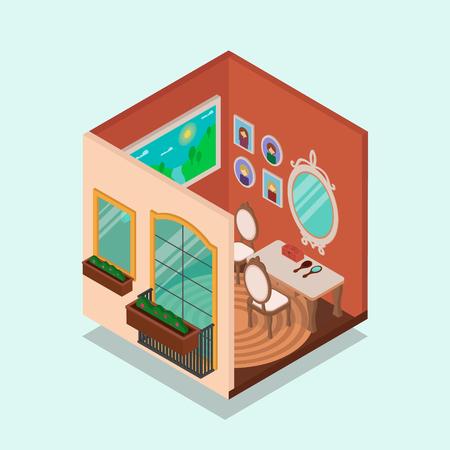 Habitación interior y exterior isométrica de una casa. Ilustración vectorial