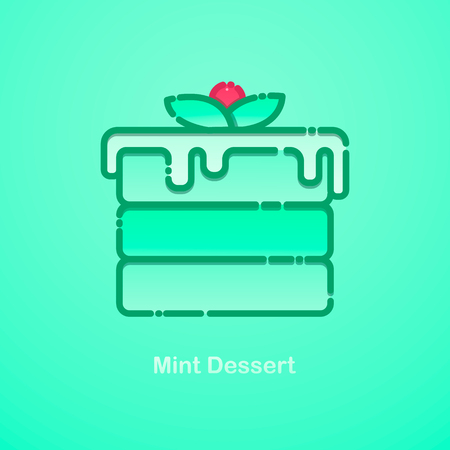 Mint cake. Vector flat illumination with a piece of cake with mint and fruit.