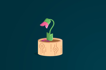 The end. Pink wilted flower in a pot. Flat vector illustration.