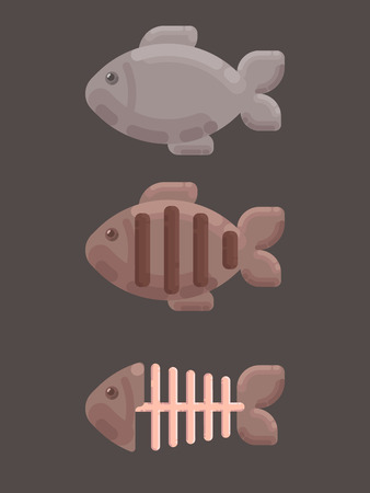 Three images of fish - alive, roasted and leftovers.