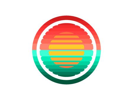 Sunset Sun over the sea creative logo. Flat vector illustration.