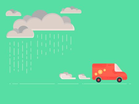 Red van on green background. Flat vector illustration.