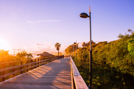 Promenade? Senda Litoral ?. Beach and promenade of Marbella. Imagens