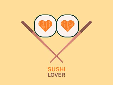 Sushi. Sushi Lover logo template design. Flat vector illustration.
