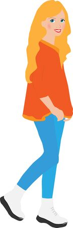 Illustration of a smiling girl in an orange sweater and blue trousers