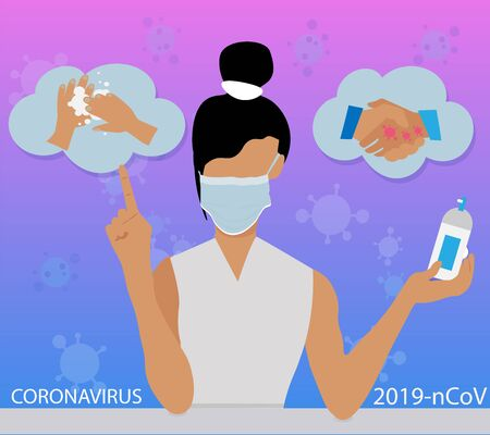 The girl in the medical mask warns that you need to wash your hands and limit contact with people and use an antiseptic against coronavirus