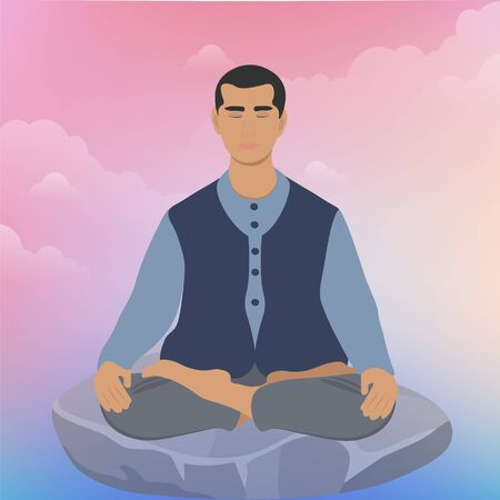 Monk man yogi sits on a stone in a yoga pose and meditates to soothe music