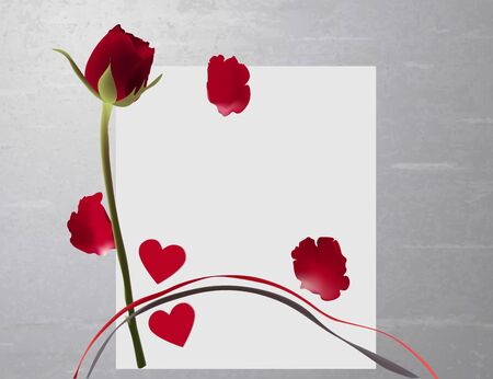 Colorful card on a gray background. Red roses scattered petals and gray