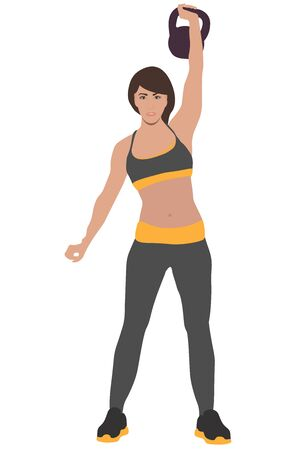 is engaged in sports shakes muscles with a kettlebell in her hands Illustration