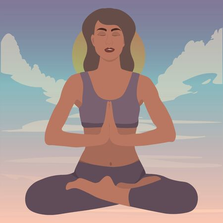 young girl meditates and practices yoga in lotus position rose into the clouds