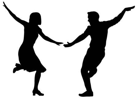 Tänzer Silhouette Frau und Mann zwei Paare Vektorgrafik