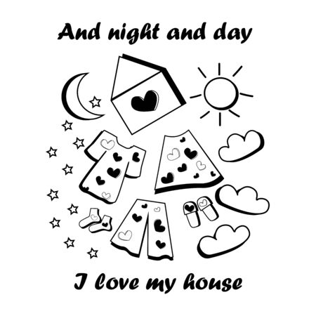 Doodle illustration house pajamas night day slippers socks stars love in simple things can be used as a print