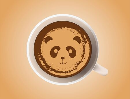 Cute panda is pictured in a cup of coffee with milk and cream