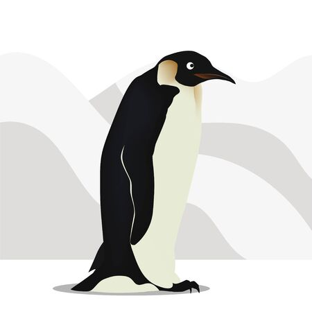 Penguin walks among the snowy mountains Vectores