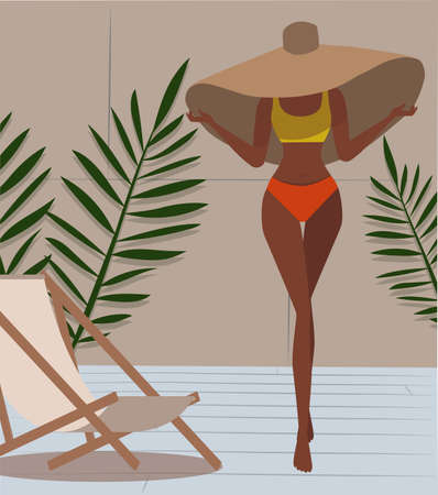 Tanned slim girl in a swimsuit resting on vacation and posing in a big beautiful hat, around greens and a sunbed Stock Illustratie