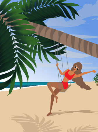 Girl on vacation on the beach swinging on a swing under a palm tree
