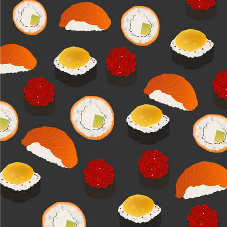 Bright background rolls and sushi on a gray background