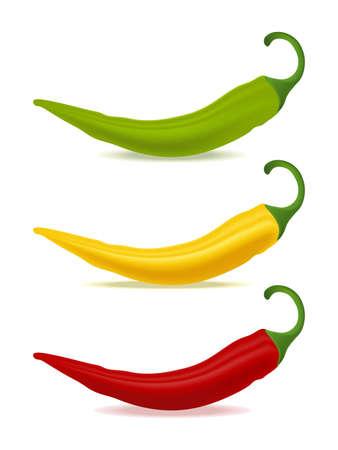 Three bell peppers long red yellow green Ilustración de vector