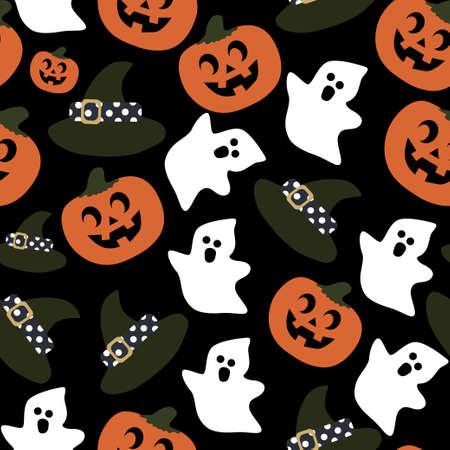 Bright festive pattern halloween hat ghost pumpkin on black background