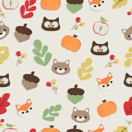 Colorful childrens pattern autumn in the forest