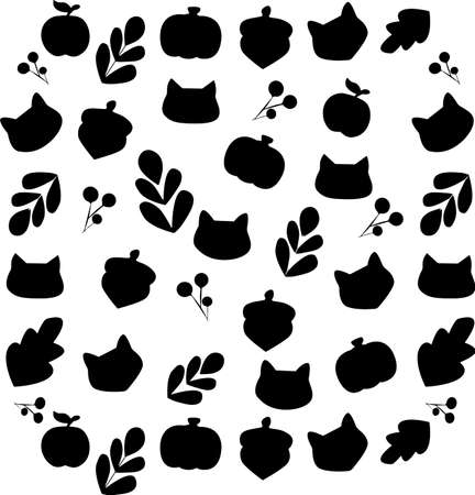 Pattern of silhouettes of forest animals and nature