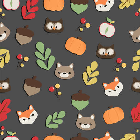 Colorful childrens pattern autumn in the forest on a dark background