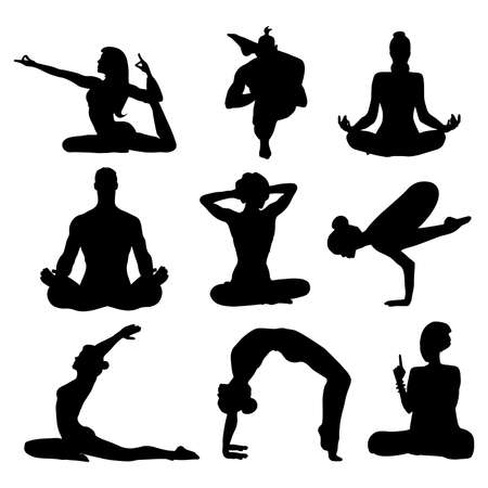 Set silhouettes of woman and man in different yoga poses