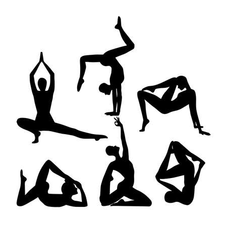 Set of woman silhouettes in different yoga poses