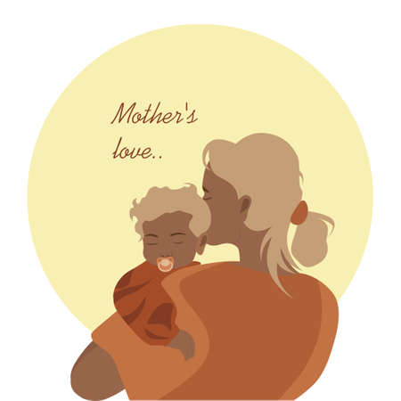 Mother hugs her baby tenderly mothers day card