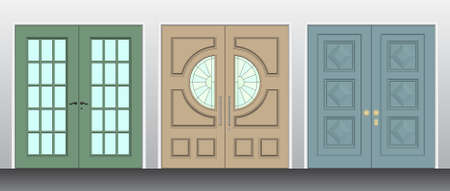 Building Set consisting of 3 Double panel front Doors 向量圖像