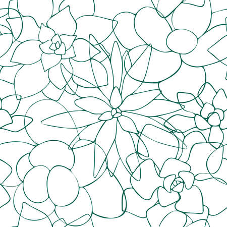 Seamless pattern of one line drawn succulents. Floral background endless. Vector illustration