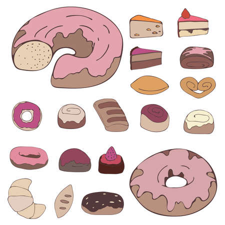 Set of various desserts, sweets and food. Colored vector illustration. Hand drawn