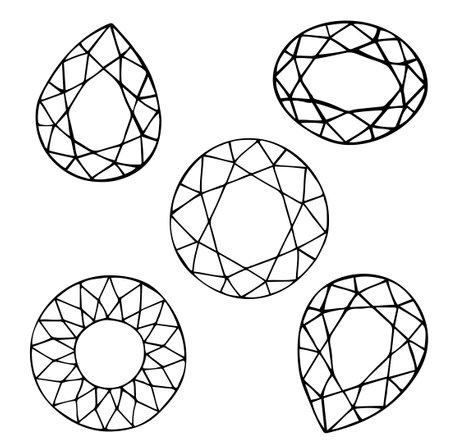 Contour image of cut gemstones, drop, diamond and ellipse. Vector illustration