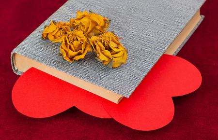 saint valentine   s day: Four dried yellow roses lying on the book with two red paper hearts inside