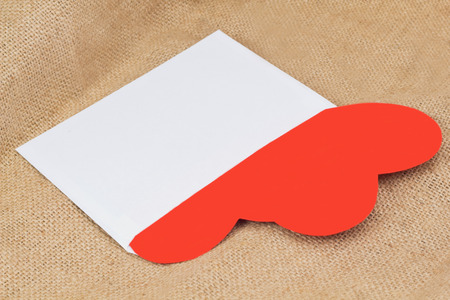 st  valentin: Two red paper hearts in the white envelope